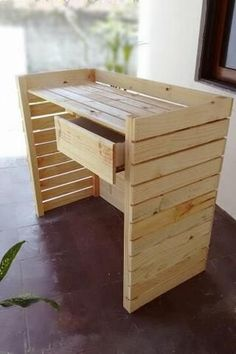 Deco Furniture, Pallet Furniture, Small Reception Desk, Wood Projects, Woodworking Projects, Laundry Shop, Clothing Store Displays, Boutique Interior, Pallet Crafts