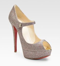 Louboutin Glitter-covered Leather Peep-toe Pumps - Lyst