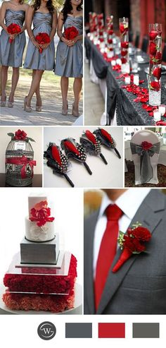 2017 red and grey wedding color ideas