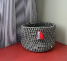 Elegant crochet box (made of cotton rope 5 mm with core - high quality cotton made in EU).  The box is decorated with two lovely tassels.  This Basket is perfect to organize cosmetics, jewellery, trinkets, accessories and whatever you need :)  It is also a great idea for a gift.