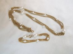 Vintage EMMONS Triple Chain Faux Pearl Gold by MemawsTopDrawer, $25.00