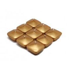 "1 3/4"" Metallic Gold Square Floating Candles (12pc/Box).  Even our floating candles are available in metallic finishes and at amazing prices!  Available in different finishes and colors at www.BeverlyHillsCandle.com"
