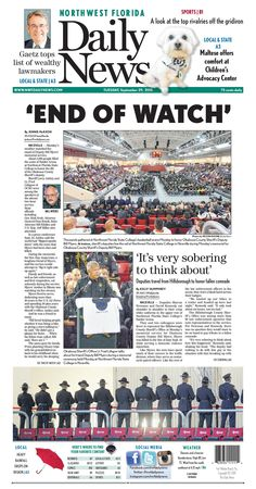"""The Sept. 29, 2015, front page of the Northwest Florida Daily News: """"End of watch"""""""