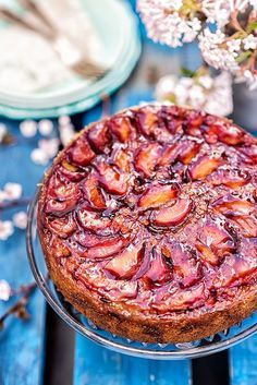 Spiced Plum Upside-Down Cake