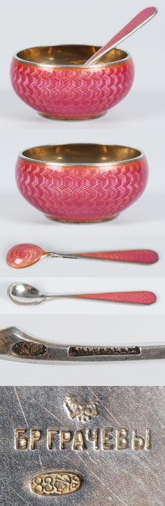 A Russian silver gilt and guilloche enamel open salt with matching spoon by Grachev, St. Petersburg, circa 1899-1908. Of circular form, the body enameled in a pink translucent enamel over a engine turned ground, the spoon similarly decorated.