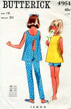 1960s Girl's Teens Top Pants and Shorts Summer Separates Vintage Sewing Pattern - Butterick 4864 Size 12 Bust 30