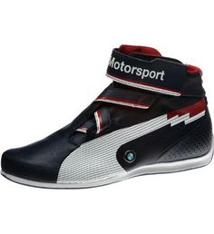 Inspired by F1 pilot shoes, this non-fireproof mid features a full EVA comfort midsole with a perforated rubber outsole, an internal EverFit cage for enhanced fit, and a heel wrap up for better drive-ability. A leather upper construction uses minimum seams for a clean, function-focused pattern, while bold BMW Motorsport logos and a team color palette are on-point for fans. The tongue-less construction is achieved by an extended lateral side that fits under the medial side, and, to further…