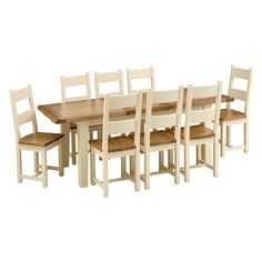 Cheltenham Cream 180cm-230cm Ext. Table and 8 Ladderback Chairs (C414) with Free Delivery | The Cotswold Company