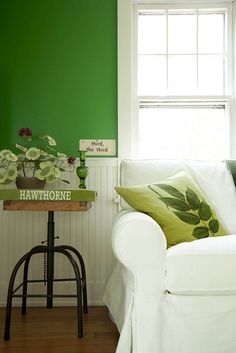 A Ghent, New York Home Where Green Rules – Design*Sponge Green Wall Color, Bungalow Homes, New York Homes, L Shaped Sofa, Dining Room Walls, Green Rooms, Recycled Furniture, Furniture Arrangement, Inspired Homes