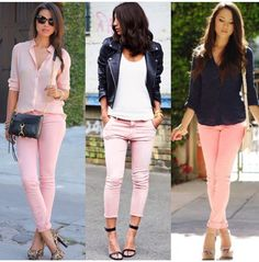 Swans Style is the top online fashion store for women. Shop sexy club dresses, jeans, shoes, bodysuits, skirts and more. Peach Pants Outfit, Skinny Pants Outfits, Jeans Outfit For Work, Light Pink Pants, Peach Jeans, Casual Outfits, Fashion Outfits, 50 Fashion, Fashion Styles