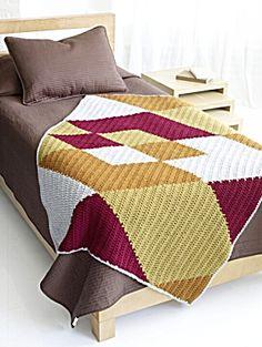 Free Crochet Pattern 70664AD Argyle Crochet Afghan : Lion Brand Yarn Company