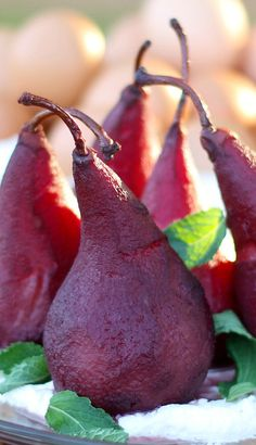 Pinot Noir Poached Pears with Mascarpone Cream & Mint