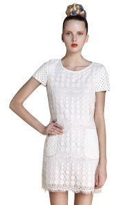 White Short Sleeve Zipper Hollow Lace Dress $68.71