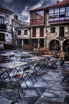 """Pontevedra, in Spain has been described as a """"definitive old Galician town""""… Oh The Places You'll Go, Places To Visit, Wonderful Places, Beautiful Places, Sidewalk Cafe, Voyage Europe, Spain And Portugal, Spain Travel, Destinations"""