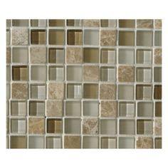 "5/8"" x 5/8"" Mosaic 12"" x 12"" Sparkle Beach Glass Stone Wall Tile"