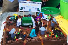 Trash Bash Cake! So much fun for a garbage truck birthday party.