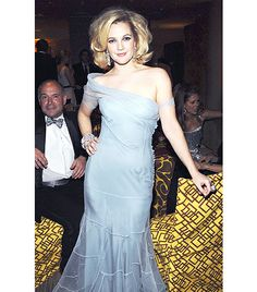 @Who What Wear - 2009                 At the HBO Golden Globes after-party.  On Barrymore: John Galliano for Dior gown; Lorraine Schwartz jewelry.