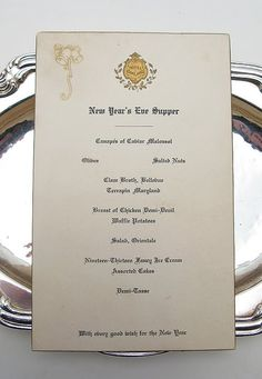 New Year's Eve Supper~ 1913, Hotel Oakland, Calif. --from my personal collection
