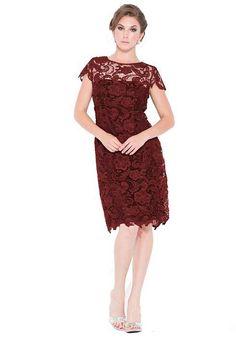 mother of the bride dresses burgundy | ... sleeve knee length lace mother of the bride / Mother of groom dresses