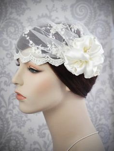 Lace bridal cap with embroidery and silk side flower