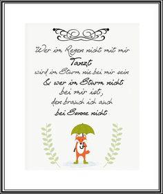 """Kunstdruck Bild Spruch """"Regen""""  von MilaLu auf DaWanda.com"""