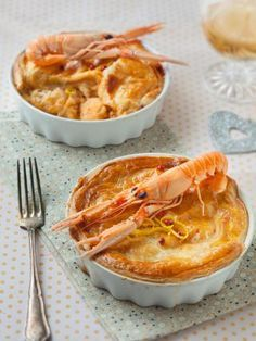 Cassolettes de langoustines et crevettes en croûte