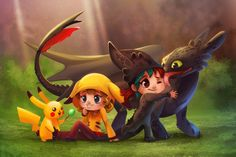 Pikachu and Toothless Commission by TsaoShin on DeviantArt