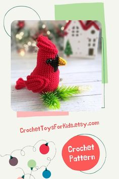 Crochet bird pattern - red cardinal. Cardinal crochet ornament. You can use the toy to decorate the Christmas tree.