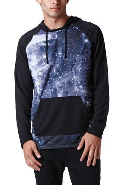 PacSun presents the On The ByasRaff Sublimated Hooded Shirt for men. This lightweight men's hooded shirt comes with a colorful print and solid black raglan sleeves.%09Multi color print hooded shirt%09Matching hood and drawstrings%09Front pocket pouch%09Long sleeves%09Machine washable%0985% polyester, 15% cotton%09Imported