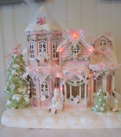 Shabby pink victorian christmas village house chic roses glitter snow lights in Collectibles, Holiday & Seasonal, Christmas: Current (1991-Now) | eBay