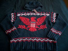 Polo Ralph Lauren Eagle Knit Hoody $395NWT usa shield wool patch flag rrl vtg M
