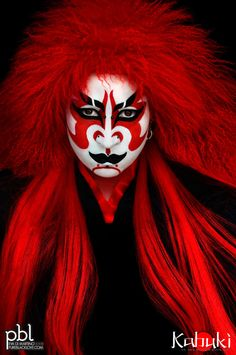 """Kabuki (歌舞伎 kabuki) is a classical Japanese dance-drama. Kabuki theatre is known for the stylization of its drama and for the elaborate make-up worn by some of its performers. The individual kanji characters, from left to right, mean sing (歌), dance (舞), and skill (伎). Kabuki is therefore sometimes translated as """"the art of singing and dancing."""" (from Wikipedia)  www.pureblacklove.com"""
