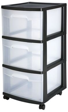Sterilite 3 Drawer Medium Cart (Black) Three clear drawers allow for easy identification of contents  $15.00