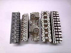 Lot of 5 Indian wooden hand carved textile printing fabric block / stamp FINE Unique design carving border patterns
