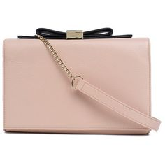 SEE BY CHLOE' Leather Clutch With Bow ($260) ❤ liked on Polyvore featuring bags, handbags, clutches, pink leather handbags, real leather purses, chain purse, see by chloe handbags and pink bow purse