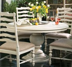 Paula Deen Home 5 piece Round Pedestal Dining Set - Linen - With Ladder Back Chairs - Refined yet casual, the Paula Deen Home 5 pc. Round Pedestal Dining Table Set - Linen - with Ladder Back Chairs elevates your dining experience. Round Pedestal Dining Table, Extendable Dining Table, Dining Table In Kitchen, Dining Tables, Pedistal Table, Round Tables, Dining Nook, Kitchen Chairs, Kitchen Ware