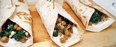 Gewoon wat een studentje 's avonds eet: Vega: Wraps met geroosterde kikkererwten, spinazie, feta, walnoten en kwark