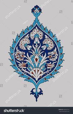 Vector floral cobalt blue ornament with irises. Traditional Turkish element for your design. Motif Vector, Vector Art, Islamic Art Pattern, Pattern Art, Motif Oriental, Ceramic Tile Art, Art Nouveau Pattern, African Crafts, Persian Pattern