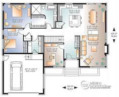 Plan de Rez-de-chaussée Maison moderne avec bureau à domicile ou 3ème chambre, grande îlot à la cuisine, aire ouverte, garage - Millois