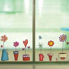Cute Flower Wall Sticker Kitchen Window Sticker Butterfies Wall Stickers Home Decor Bathroom Vinyl Wall Decals Kids Rooms Decor - projeto ar - Bathroom Vinyl, Kids Room Wall Decals, Large Wall Decals, Kitchen Wall Stickers, Nursery Wall Decor, Glass Bathroom, Wall Mural, Bathroom Towels, Bathroom Purple