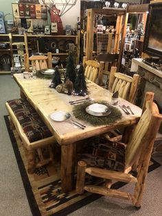 Aspen Log Expandable Table is available in different sizes, stains, and wood options. Log End Tables, Log Coffee Table, Country Bedding, Rustic Bedding, Southwestern Bedding, Lodge Furniture, Log Candle Holders, Expandable Table, Wildlife Decor