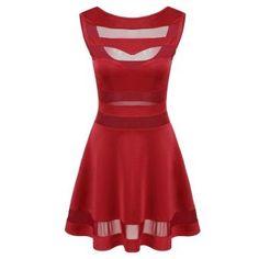 Yucheer Las mujeres sin respaldo Vestido de tirantes - Rojo
