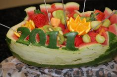 Watermelon Fruit Bowl - with the graduation year cut out of the watermelon watermelon idea, grad parties, watermelon fruit bowls, parti food, fruit display, parti idea, graduat idea, graduation, graduat parti