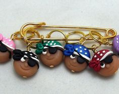 Stitch Markers CUTIE PIRATES  for Knit or Crochet set of 6