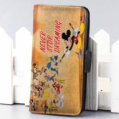 mickey mouse never stop dreaming Disney wallet case for iphone 4,4s,5,5s,5c,6 and samsung galaxy s3,s4,s5 - LSNCONECALL.COM