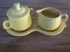 Homer Laughlin Fiesta Fiestaware Butter Yellow Creamer Sugar tray from Ebay