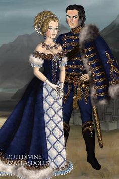 Blue Hussar and his Lady ~ by Inanna ~ created using the LotR Hobbit doll maker | DollDivine.com