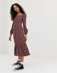 60c2d711a62d Nobody's Child | Nobody's Child square neck button front midi dress in  floral