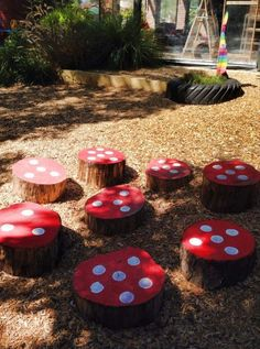 Play Garden Ideas Stepping Magical play garden stepping stones are fun for building balance stability core strength and gross motor skills. They remind us of Alice in Wondeland! The post Play Garden Ideas Stepping appeared first on School Diy. Preschool Playground, Preschool Garden, Sensory Garden, Outdoor Learning Spaces, Outdoor Play Areas, Outdoor Fun, Eyfs Outdoor Area Ideas, Outdoor Seating, Backyard Play
