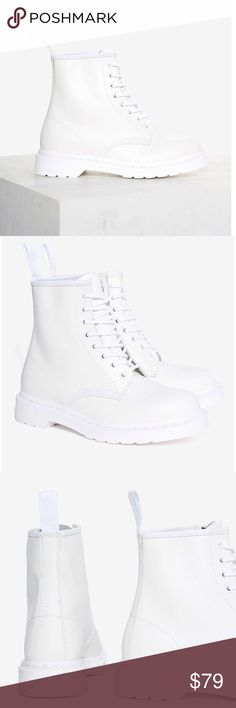 DR MARTENS AIR WAIR 1460 MONO WHITE NASTY GAL BOOT DR MARTENS AIR WAIR 1460 8 EYE BOOT mono white bought at Nasty Gal $135 retail new with box NO LID for box DETAILS We're not for living in the past, but we are for dressing in it. The Dr. Martens boot is basically the spokesmodel for '90s grunge and punk. It has a matte leather shell with treaded rubber sole Lace-up closure. Perfect with a floral maxi, or leather pants & a vintage tee. Classic silhouette. Lace-up closure. Leather. Shoe…